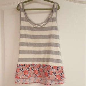 Cato Girls Grey and White Striped Tank Floral Hem